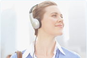 Picture of a woman with headphones on